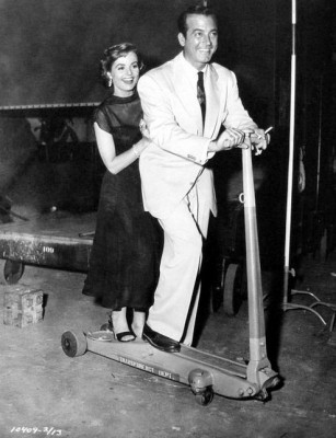 Mary Murphy and John Payne having fun on the set of Hells Island