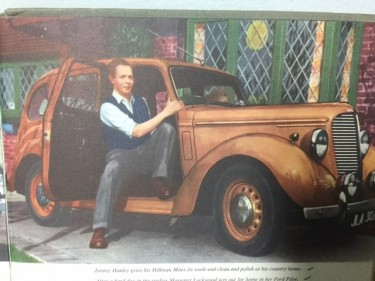 Jimmy Hanley with his Hillman Minx 1950