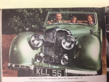John Mills with his wife and daughter Juliet in his car