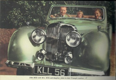 John Mills, Family and Triumph Roadster