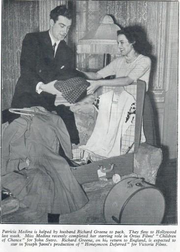 Richard Greene and his Wife Patricia Medina 1949
