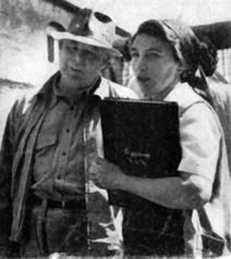 Rumer Godden and Jean Renoir on set The River 1951