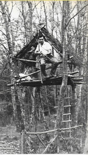 Conrad Phillips and his son in the Tree House