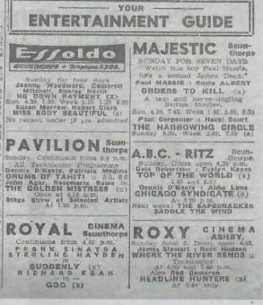 Cinema Showings 1958