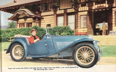 Diana Lynn in Her MG Car