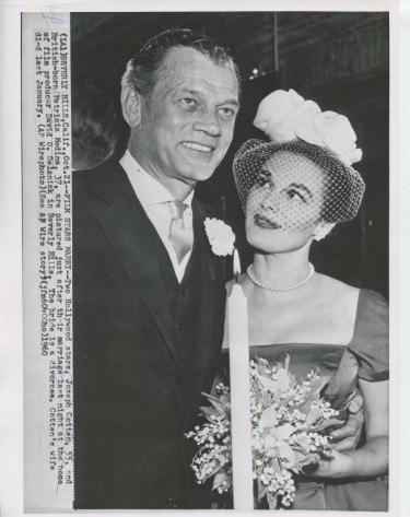 Patricia Medina and Joseph Cotten on their weddding day