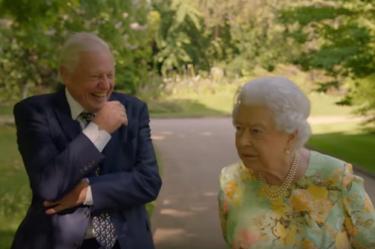 David Attenborough with the Queen in her Garden