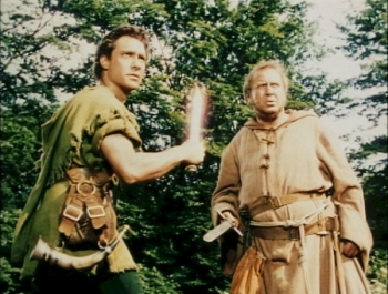 James Hayter as Friar Tuck with Richard Todd