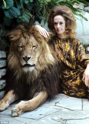 Tippi Hedren with her Pet Neil The Lion