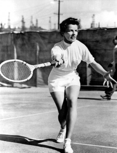 Katharine Hepburn plays tennis